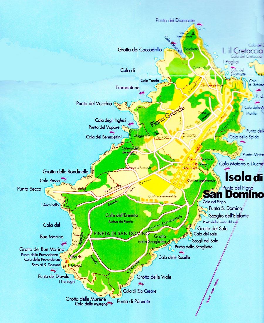 Cartina Puglia Isole Tremiti.L Isola Di San Domino Nelle Isole Tremiti E Mappa
